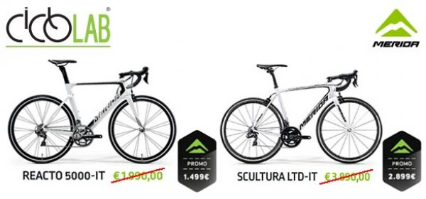Promo bici corsa Merida Reacto 5000 IT e Scultura LTD.
